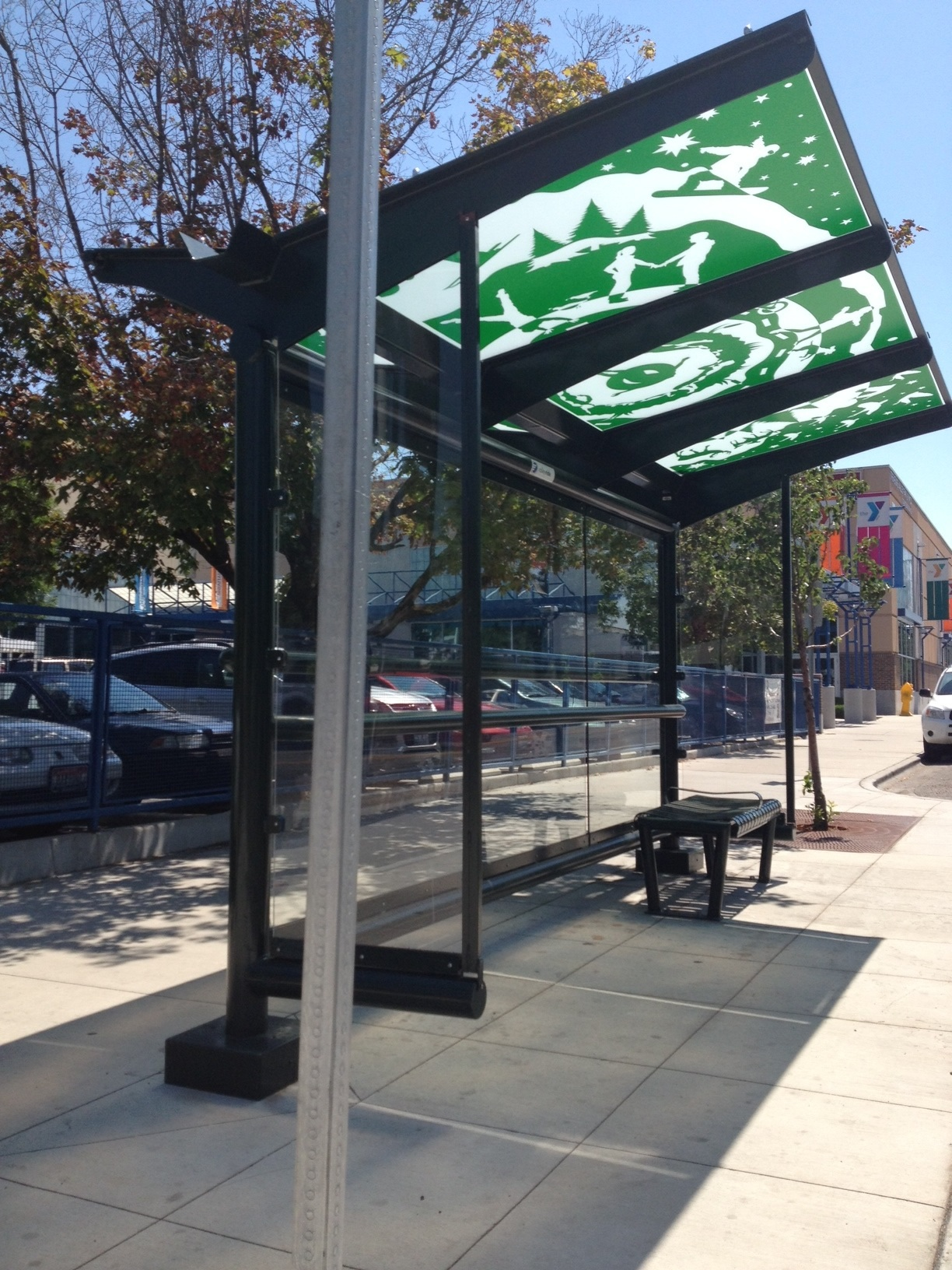 """©2013 Melissa """"Sasi"""" Chambers and Will Spearman - """"Y Not Ride the Bus"""" - bus shelter in Boise, Idaho"""