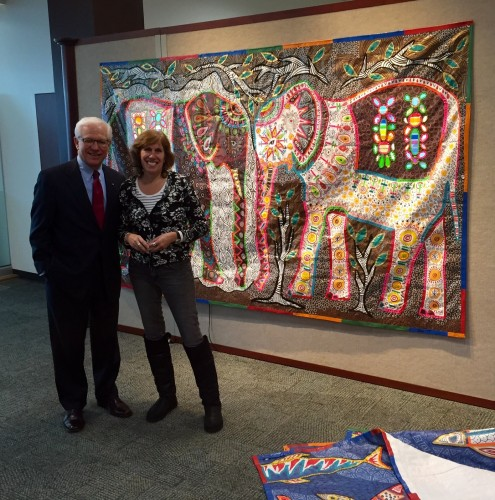 "Bob Kustra and Melissa ""Sasi"" Chambers at hanging of ""Tarpestries exhibition at BSU"