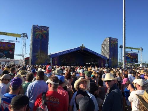 Crowd waiting for Van Morisson Jazz Fest 2016