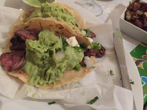 Hanger steak tacos at El Pavo Real