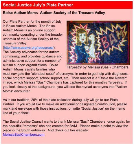 BUUF Newsletter info on Boise Autism Moms Tarpestry