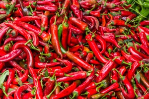 Red hot chili pepper texture background.