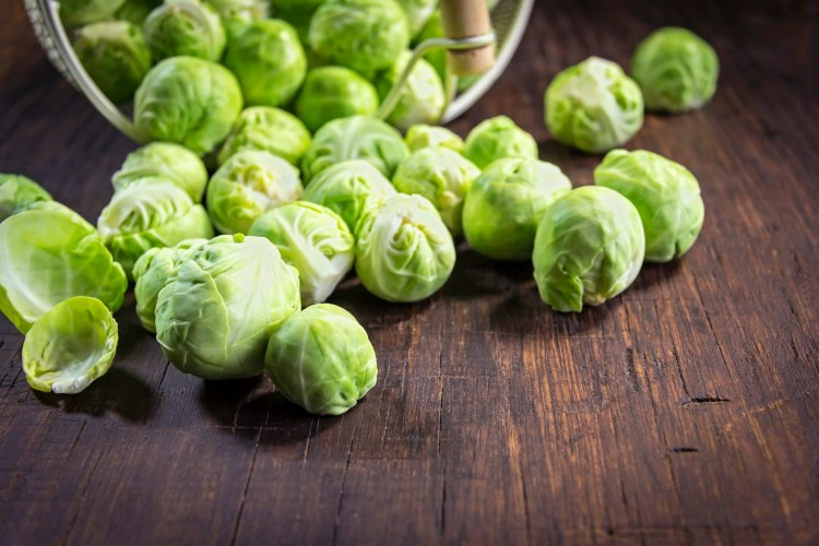 Close-up of organic brussels sprouts