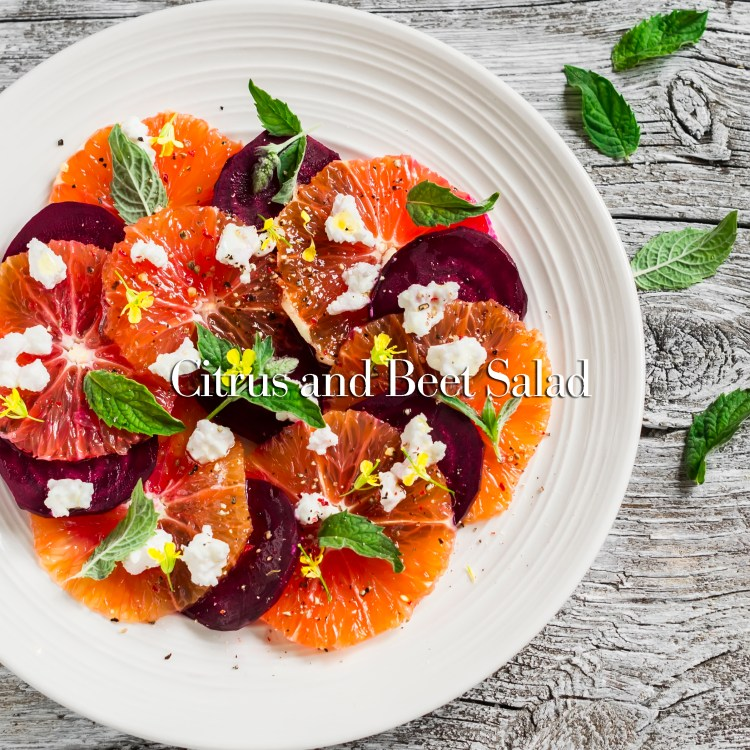 Blood oranges and beet salad with feta, mint and balsamic dressing