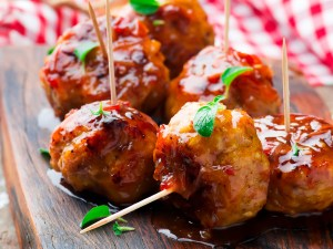 Chicken Meatballs with glaze