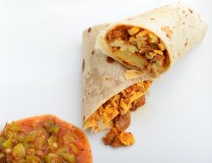vegetarian potato egg burrito