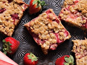 Strawberry Rhubarb  Crumb Bars Seen From Above