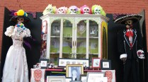 An altar on display at 20th and J Saturday and Sunday.