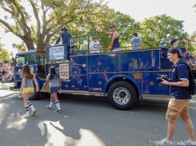 An old firetruck promoting the UC Davis Aggies game