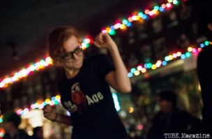 Chelsea Alice dancing at The Lower 48/Honyock show. Torch Club. Sacramento CA. Photo Melissa Uroff