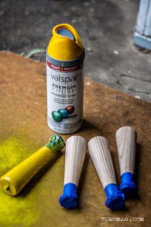 Use the painters tape to cover any parts of the legs that you do not want to paint.
