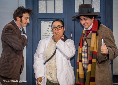 """Doctor Who Cosplay with two doctors and character """"Osgood"""" from the 50th anniversary special"""