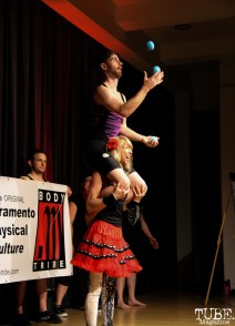Strongwoman Allyson and Friends Sideshow performing amazing feats of strength at ArtMix Vaudeville at the Crocker in Sacramento, Ca. March 2016. Photo Anouk Nexus.