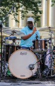 D'Andre Williams Drummer of Current Personae, Cesar Chavez Park, Sacramento, CA. May 6th, 2016. Photo Anouk Nexus