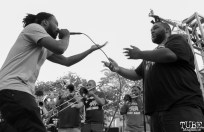 Guest Luke Tailor and fellow MC freestyling with Element Brass Band, Concerts in the Park, Cesar Chavez park, Sacramento, CA. May 13, 2016, Photo Anouk Nexus