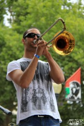 The Scratch Outs trombonist, Concerts in the Park, Cesar Chavez Park, Sacramento, CA. June 17, 2016. Photo Anouk Nexus