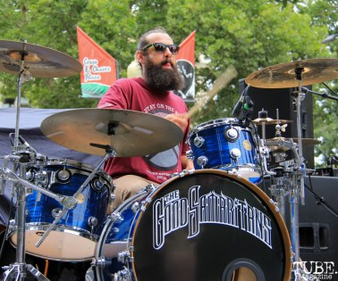 The Good Samaritans drummer, Eric Opdyke, Concerts in the Park, Cesar Chavez Park, Sacramento, CA. June 17, 2016. Photo Anouk Nexus