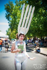 "Gigia Fonda promoting her ""GIVE A FORK"" project at the Crocker Block by Block Party in District 5, July 9, Sacramento CA. Photo Melissa Uroff"