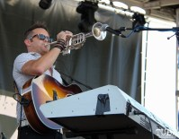 Vocalist, Guitarist, Trumpet, and Keyboardist Will Steil of The Rebel Light, City of Trees, Bonney Field, Sacramento, CA. September 10, 2016. Photo Anouk Nexus
