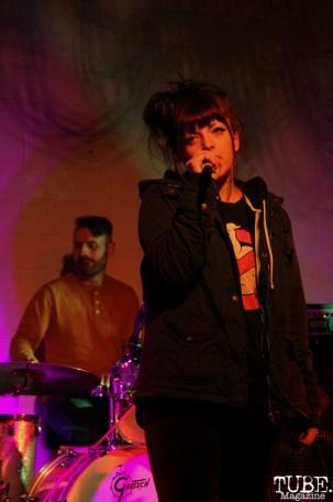 Natalia Yanni vocalist and Zack Wheaton drummer of Ghoul School, Red Museum, Sacramento, CA. December 07, 2016. Photo Anouk Nexus