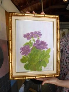 Purple floral painting by Cottle's great aunt.