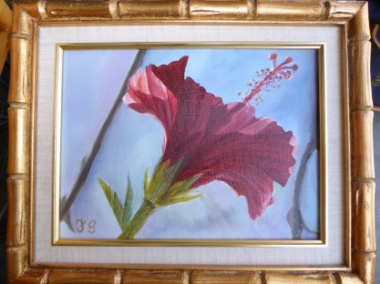 Red floral painting by Cottle's great aunt.
