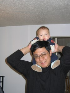 My bro, with Max as a baby