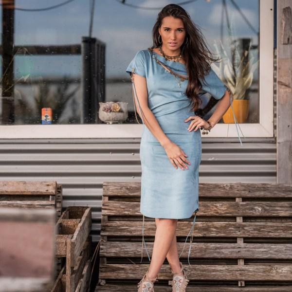 Bohemian jurk jeans blue