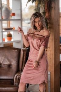 Melissimo Bohemian jurk oud rose