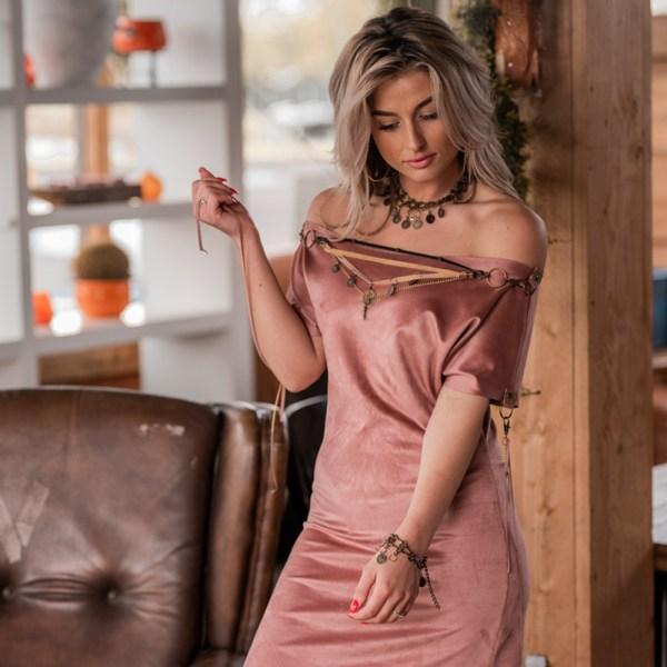 Bohemian jurk oud rose