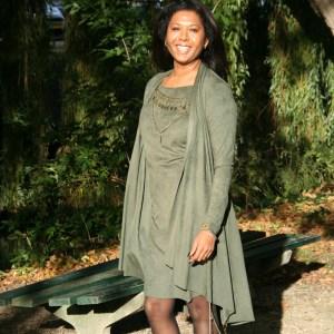 Boho chic vest army green
