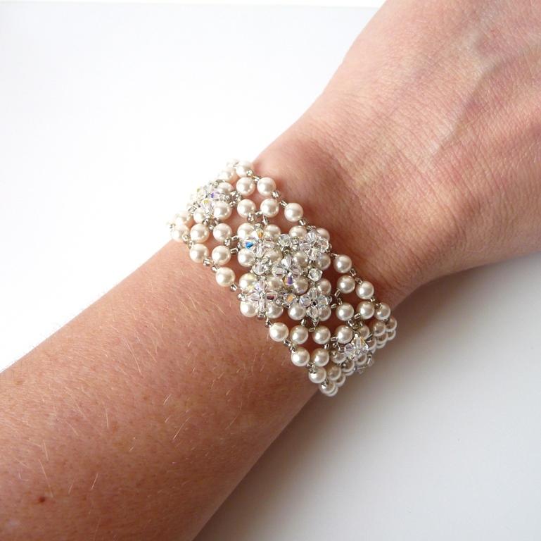 handmade pearl cuff bracelet