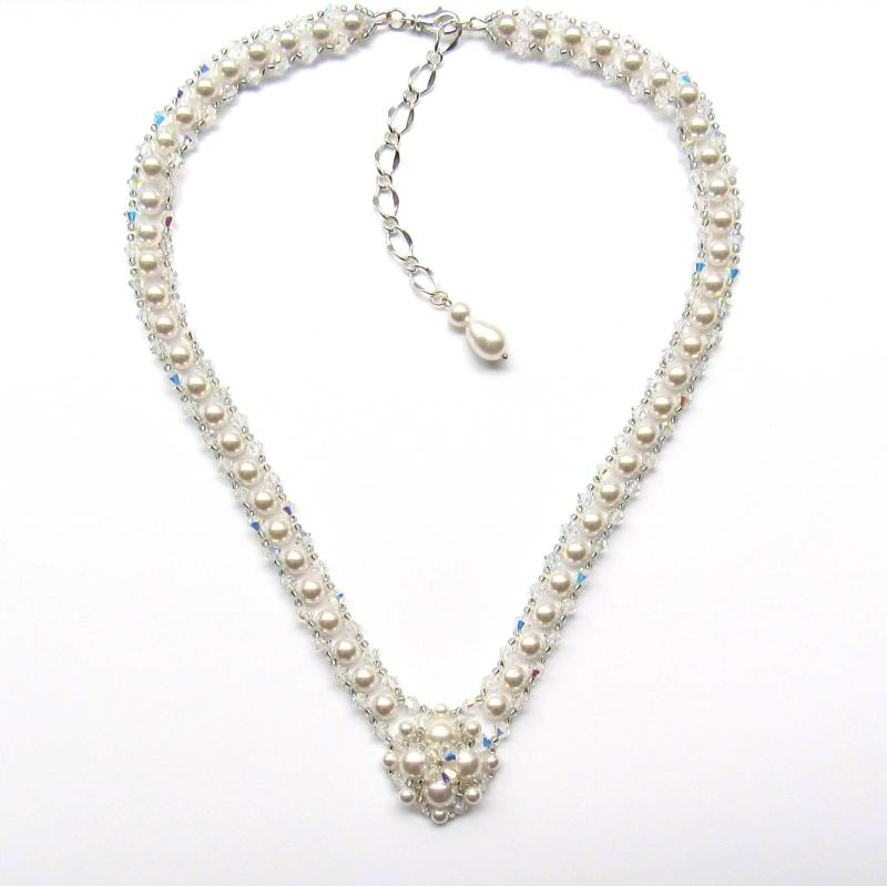 pearl and crystal v shaped necklace