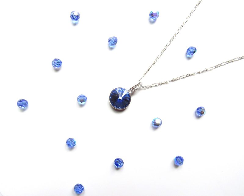 Sapphire Pendant Necklace Sterling Silver September Birthstone Necklace