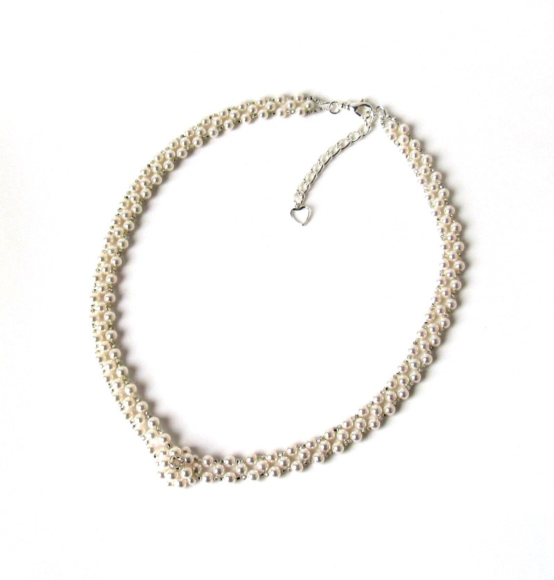 beaded pearl necklace with flower focal