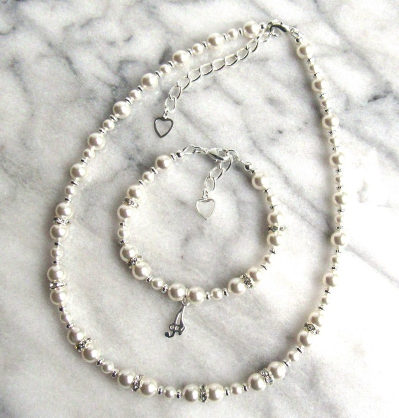 girls personalized pearl and silver jewelry set