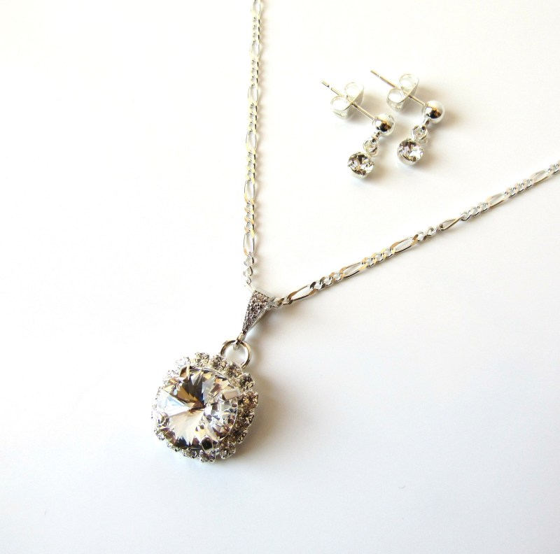 girls rhinestone pendant necklace silver