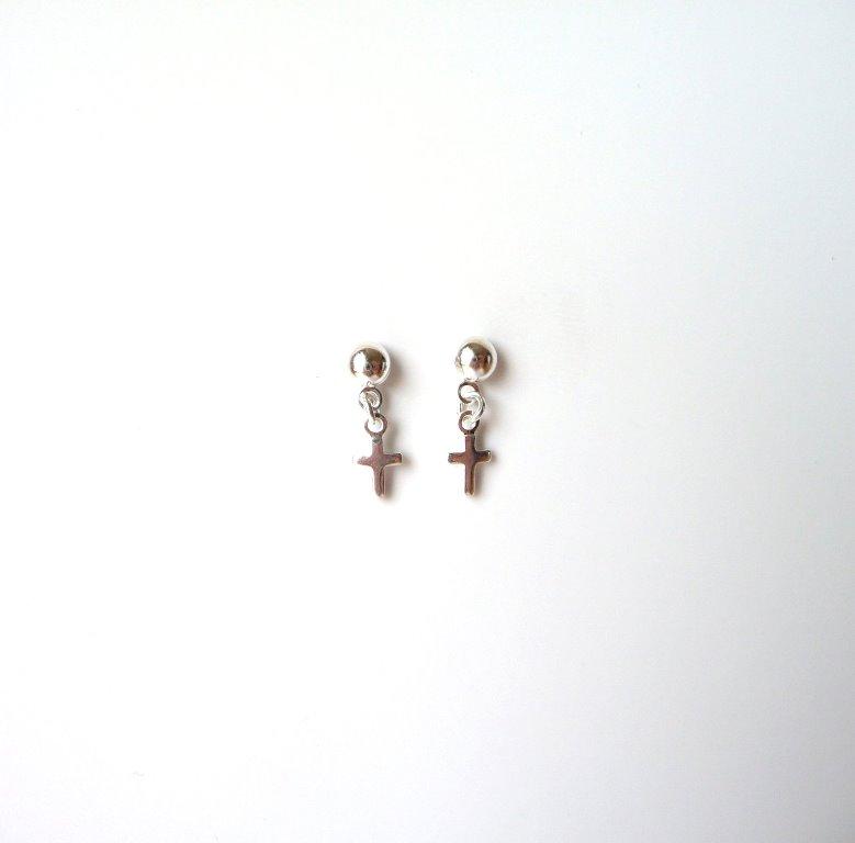 -tiny silver cross earrings