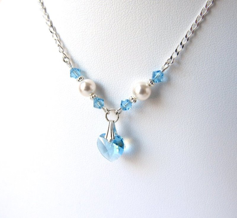 Girls Pearl & Aquamarine Crystal Heart Necklace with Silver Accents