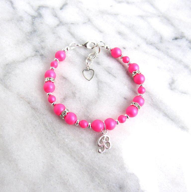 hot-pink-beaded-bracelet-personalized