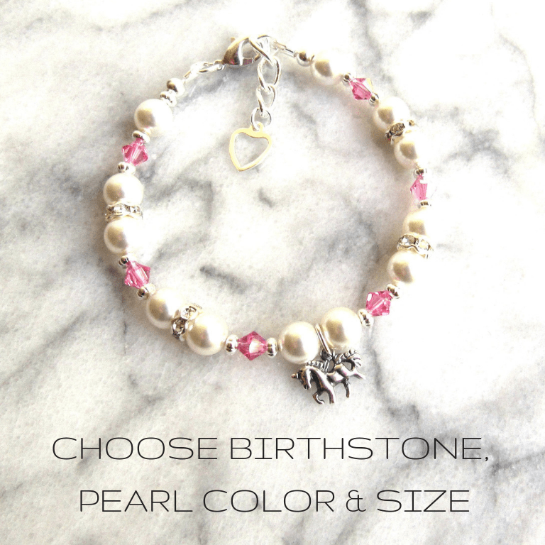PB15_girls birthstone bracelet with unicorn charm