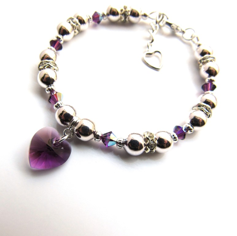 PB16-2-crystal heart birthstone bracelet silver