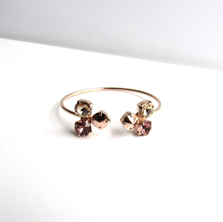 WB14-rose gold flower pinch cuff bracelet