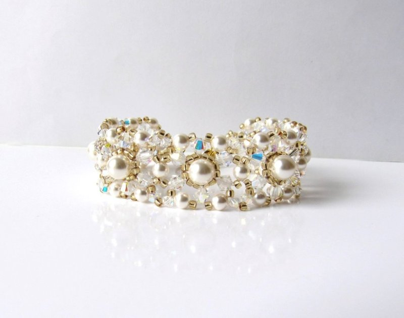 WB17-pearl crystal gold bracelet beaded