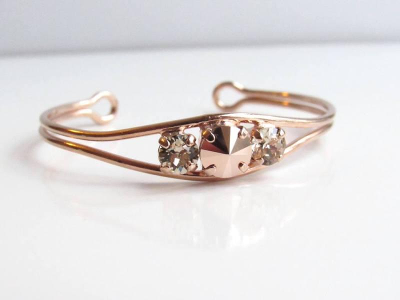 -rose gold open bangle bracelet with swarovski csrystals