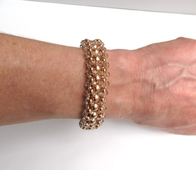 Rose gold and champagne beaded bracelet