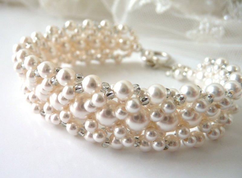 WB21-3-pearl bridal bracelet multi strand pearl cuff