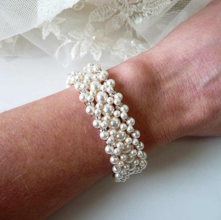 WB21-multi strand pearl cuff bracelet beaded white or ivory