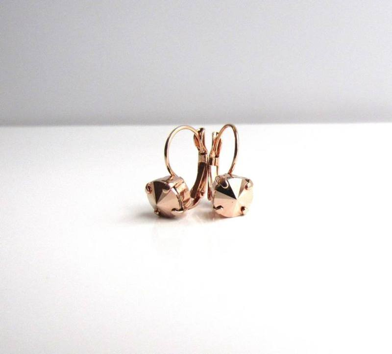 WE6-swarovski rose gold crystal earrings