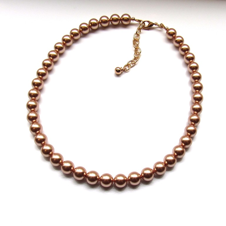 -rose gold pearl necklace single strand